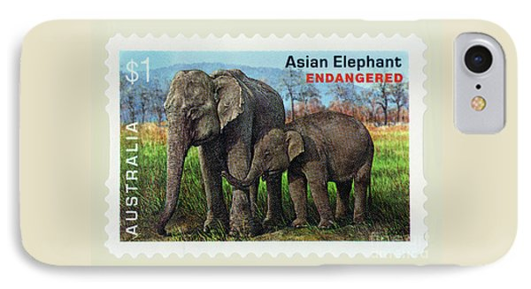 IPhone Case featuring the photograph Postage Stamp - Asian Elephant By Kaye Menner by Kaye Menner