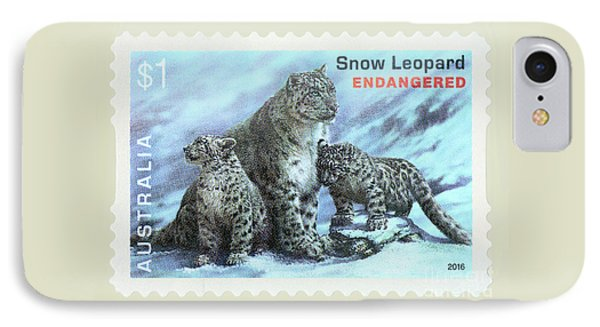 IPhone Case featuring the photograph Postage Stamp - Snow Leopard By Kaye Menner by Kaye Menner