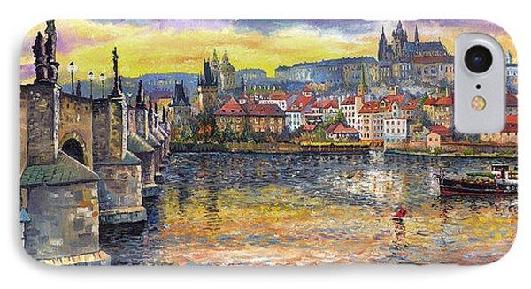 Landscape iPhone 8 Case - Prague Charles Bridge And Prague Castle With The Vltava River 1 by Yuriy Shevchuk