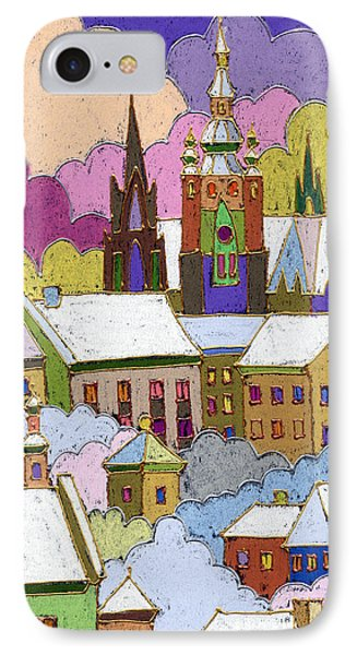Castle iPhone 8 Case - Prague Old Roofs Prague Castle Winter by Yuriy Shevchuk