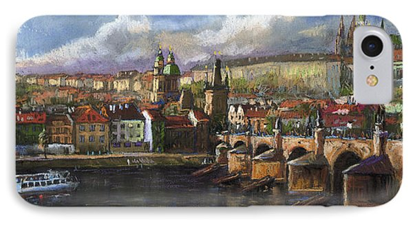 Castle iPhone 8 Case - Prague Panorama Charles Bridge Prague Castle by Yuriy Shevchuk