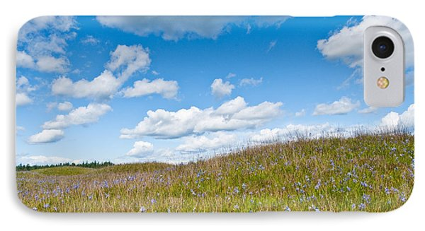 Prairie In Bloom Under Blue Sky IPhone Case