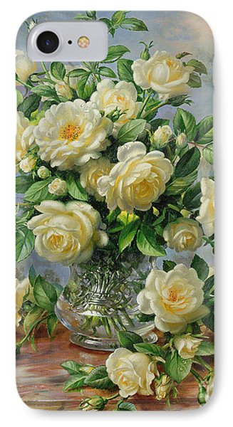 Rose iPhone 8 Case - Princess Diana Roses In A Cut Glass Vase by Albert Williams
