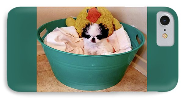 Puppy In A Bucket, Japanese Chin IPhone Case