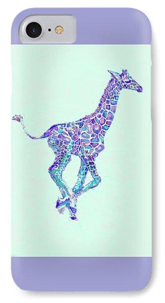 Purple And Aqua Running Baby Giraffe IPhone Case