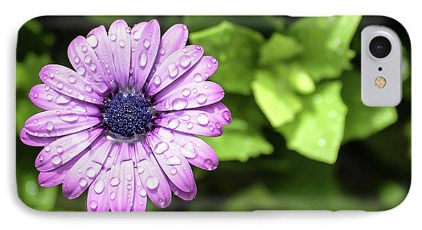 Purple Flower On Green IPhone Case