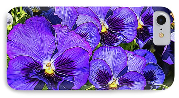 Purple Pansies In Morning Light IPhone Case