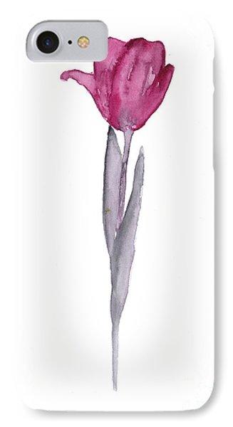 Tulip iPhone 8 Case - Purple Tulip Botanical Artwork Poster by Joanna Szmerdt