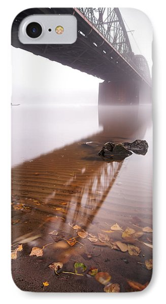 Railway Bridge During Foggy Morning In Prague, Czech Republic IPhone Case