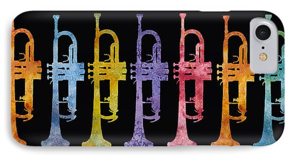Trumpet iPhone 8 Case - Rainbow Of Trumpets by Jenny Armitage