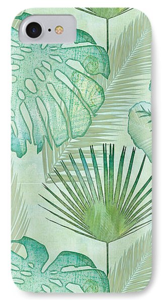 Beach iPhone 8 Case - Rainforest Tropical - Elephant Ear And Fan Palm Leaves Repeat Pattern by Audrey Jeanne Roberts