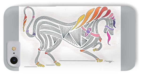 Rarin' To Go -- Stylized Medieval Prancing Horse W/ Rainbow Mane IPhone Case