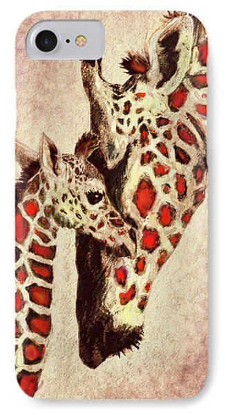 Red And Brown Giraffes IPhone Case