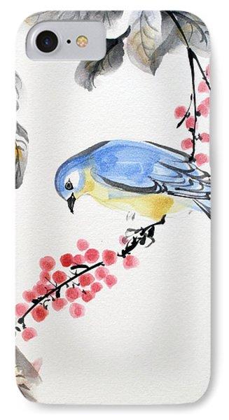 Red Berries Blue Bird IPhone Case