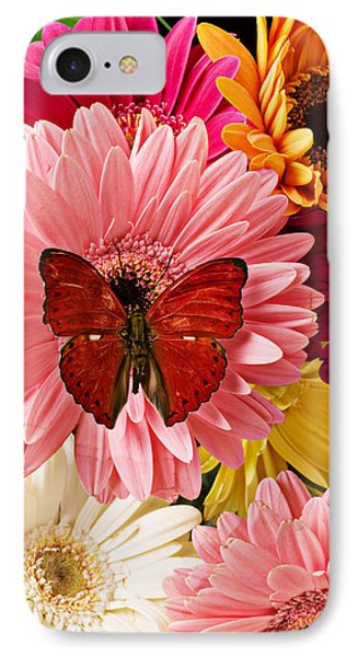 Beautiful iPhone 8 Case - Red Butterfly On Bunch Of Flowers by Garry Gay