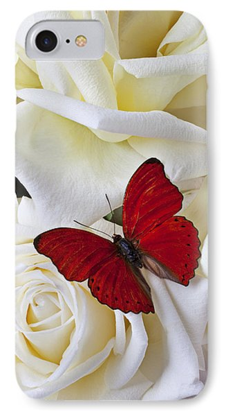Red Butterfly On White Roses IPhone Case