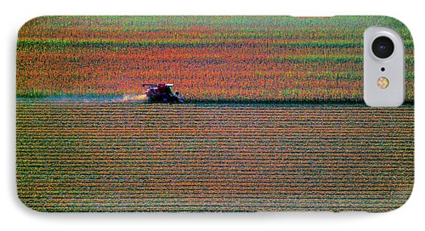 Red Combine Harvesting  Mchenry Aerial IPhone Case