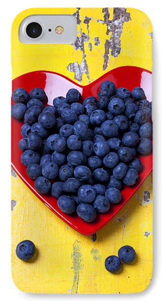 Red Heart Plate With Blueberries IPhone Case