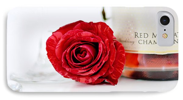 Red Rose With Champagne IPhone Case