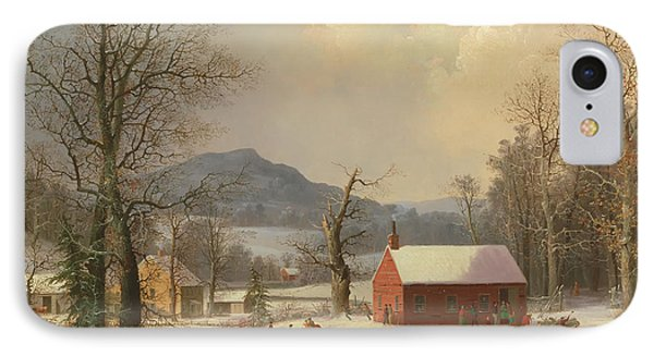 Red School House, Country Scene IPhone Case