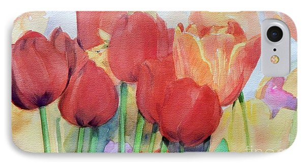 Red Tulips In Spring IPhone Case