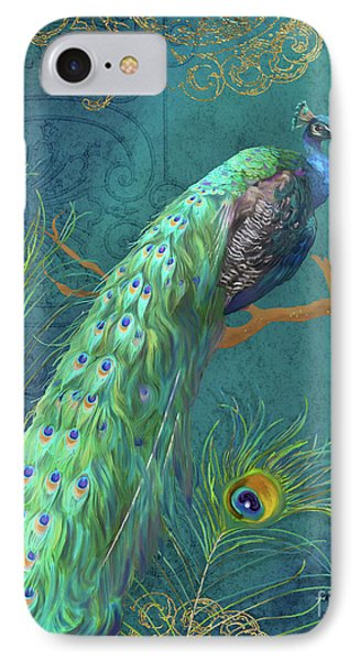 IPhone Case featuring the painting Regal Peacock 3 Midnight by Audrey Jeanne Roberts
