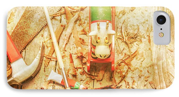Reindeer With Tools And Wood Shavings IPhone Case