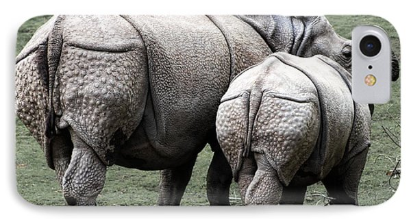 Rhinoceros Mother And Calf In Wild IPhone Case