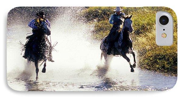 Riders In A Creek IPhone Case
