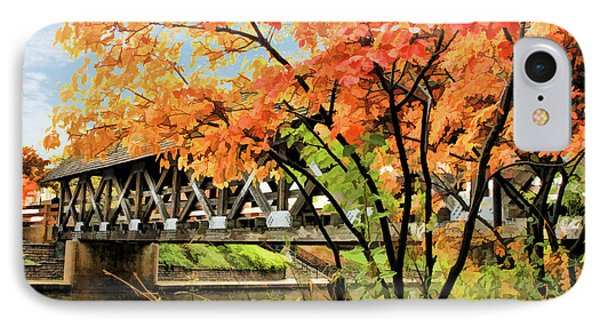 IPhone Case featuring the painting Riverwalk Covered Bridge by Christopher Arndt