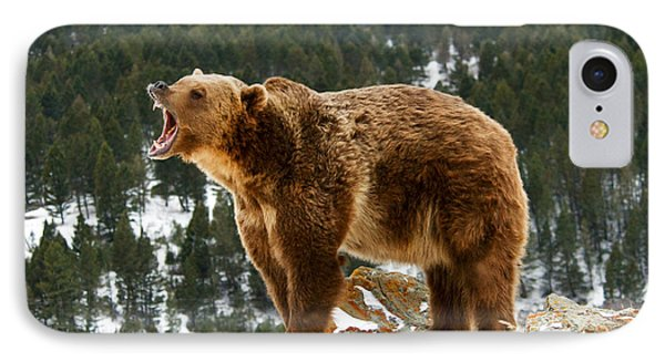 Roaring Grizzly On Rock IPhone Case