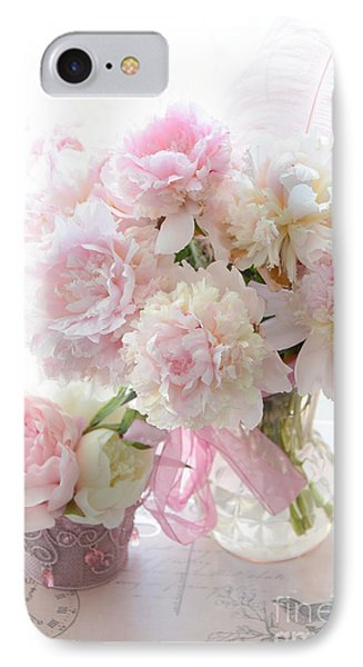 Romantic Shabby Chic Pink White Peonies - Shabby Chic Peonies Pastel Decor IPhone Case