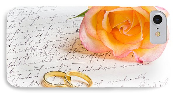Rose And Two Rings Over Handwritten Letter IPhone Case