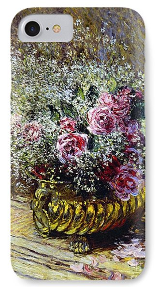 Beauty In Nature iPhone 8 Case - Roses In A Copper Vase by Claude Monet