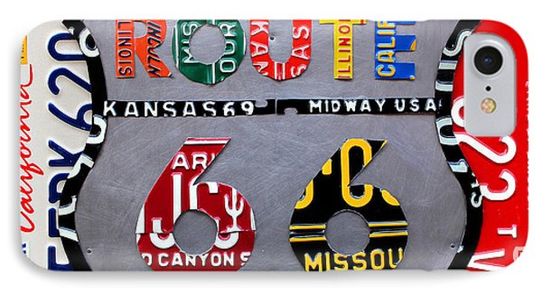 Car iPhone 8 Case - Route 66 Highway Road Sign License Plate Art by Design Turnpike