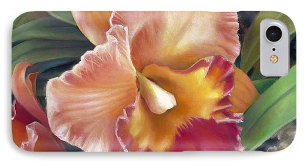 Ruffled Peach Cattleya Orchid IPhone Case