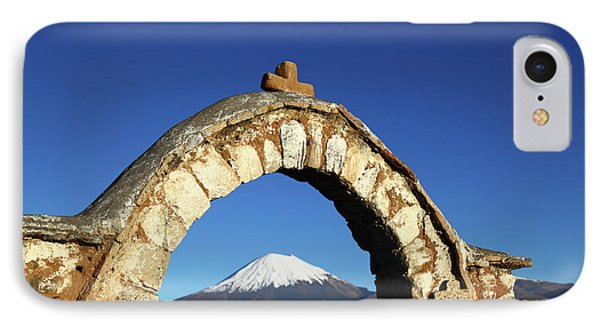 Rustic Church Entrance Archway And Parinacota Volcano Bolivia IPhone Case