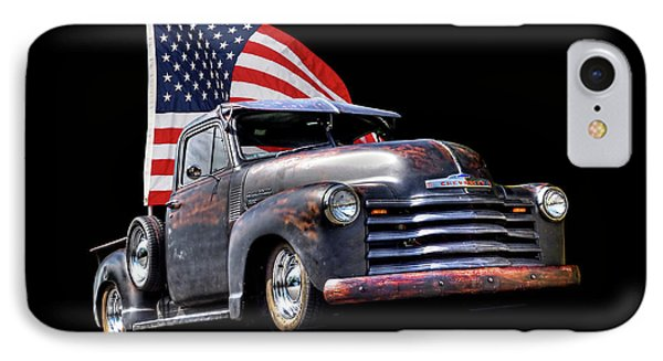 Rusty 1951 Chevy Truck With Us Flag IPhone Case