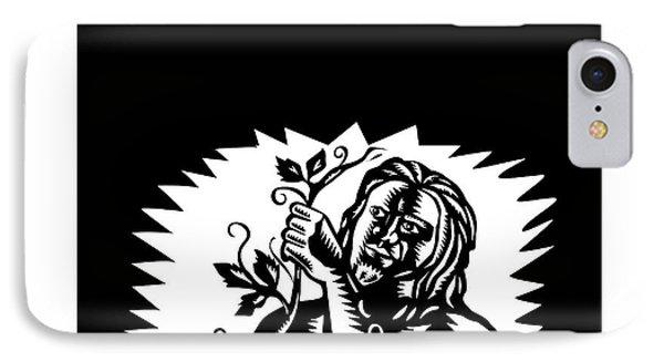 Samoan God Tagaloa Holding A Vine Woodcut IPhone Case