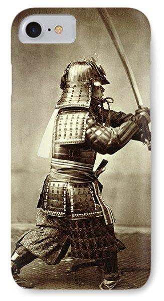 Samurai With Raised Sword IPhone Case