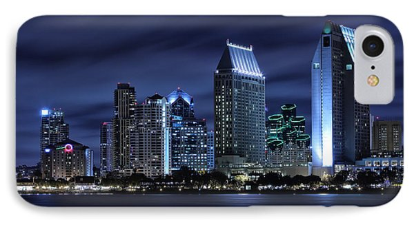 City Scenes iPhone 8 Case - San Diego Skyline At Night by Larry Marshall