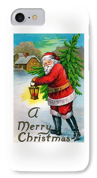 Santa Carrying A Christmas Tree IPhone Case