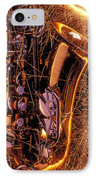Saxophone iPhone 8 Case - Sax With Sparks by Garry Gay