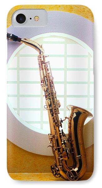 Saxophone iPhone 8 Case - Saxophone In Round Window by Garry Gay