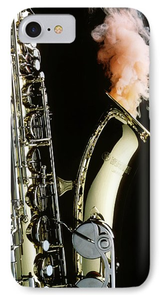 Saxophone iPhone 8 Case - Saxophone With Smoke by Garry Gay