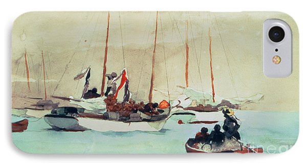 Boat iPhone 8 Case - Schooners At Anchor In Key West by Winslow Homer