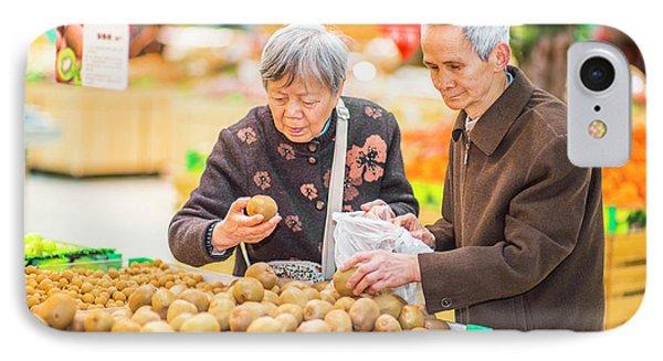 Senior Man And Woman Shopping Fruit IPhone Case