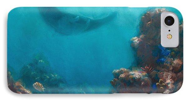 Serenity - Hawaiian Underwater Reef And Manta Ray IPhone Case