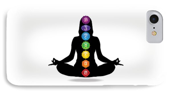 Seven Chakra Illustration With Woman Silhouette IPhone Case