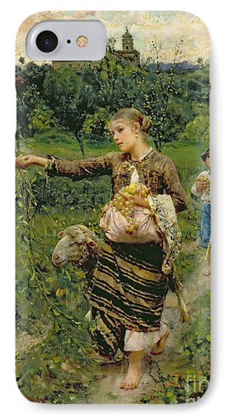Rural Scenes iPhone 8 Case - Shepherdess Carrying A Bunch Of Grapes by Francesco Paolo Michetti